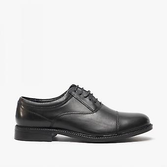 Roamers Clark Mens Leather Fuller Fitting Capped Oxford Shoes Black