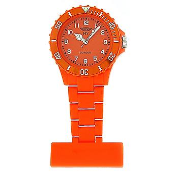 Prince London Plastic Orange Rotating Bezel Unisex Nurses Fob Watch PI-4010