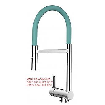 Mezclador de fregadero de cocina de una sola palanca Turquesa plegable spout sólo 6 cm y 2 chorros spray ducha - mango en el lado izquierdo - 463