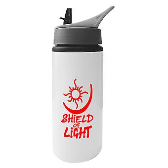 Bright Shield Of Light Aluminium Water Bottle With Straw