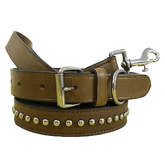 Bradley crompton genuine leather matching pair dog collar and lead set  bcdc16khakibrown