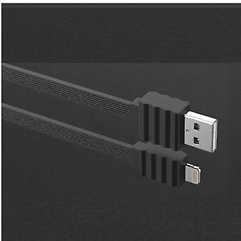 DEVIA Flat 2Amp Lightning kabel för iPhone iPad iPod - Svart