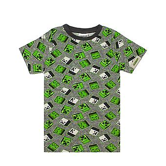 Minecraft All Over Print Creeper Zombies Grey / Green Boy's Cotton T-Shirt