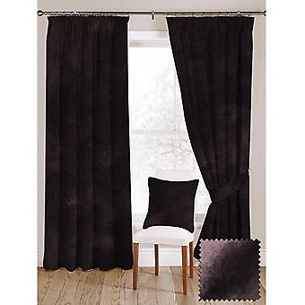 Mcalister textiles shiny aubergine purple crushed velvet curtains