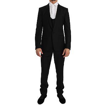 ドルチェ&ガッバーナ ブラック ウール シルク マティーニ スリム スモーキング スーツ -- JKT1769008
