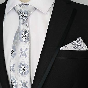 Silver & grey batik pattern designer pocket square & tie