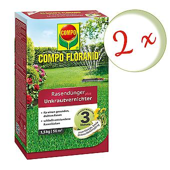 Sparset: 2 x COMPO Floranid® lawn fertilizer plus weed killer, 1.5 kg