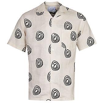 Portuguese Flannel Aboriginal Pattern Cream Short Sleeve Shirt