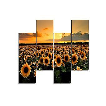 Veelkleurige zonnebloemen schilderen in MDF, L19xP0.3xA50 cm (4 stuks)