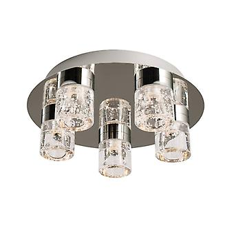 Imperial Ceiling Light, Chrome And Glass, 5 Bulbs