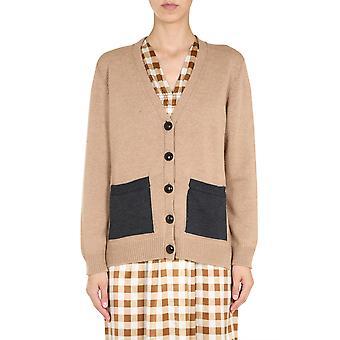 Ganni K1370177 Femmes-apos;s Beige Wool Cardigan