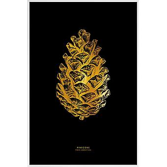 JUNIQE Print - Gold Pinecone - Leaves & Plants Poster in Goud en Zwart