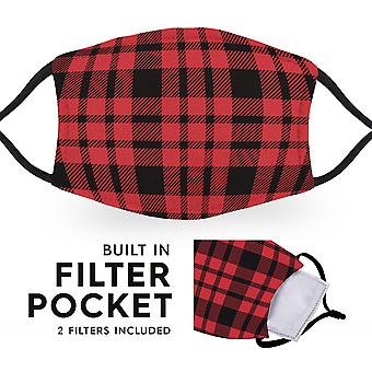 Black Red Tartan - Reusable Adult Cloth Face Masks - 2 Filters Included