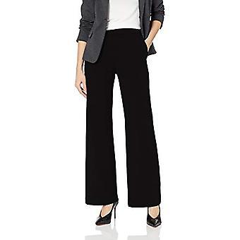Brand - Lark & Ro Women's Wide Leg Ponte Pant, Black Pinstripe Print, ...