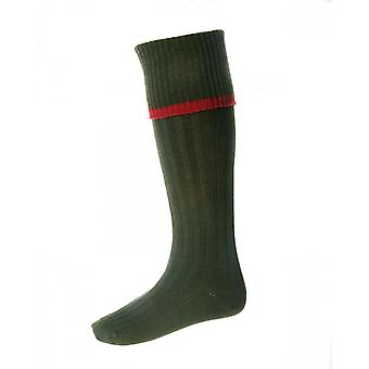 House of Cheviot Country Socks Estate ~ Spruce & Brick Red