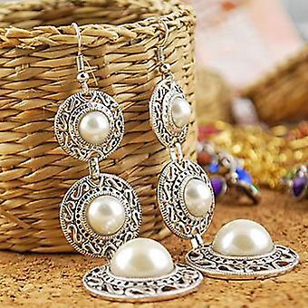 Vintage sølv lang perle dråpe øredobber
