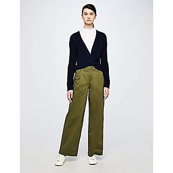 Meraki Women's Chunky Wool-Blend Ribbed Cardigan Sweater, Navy, EU XXL (US 16)
