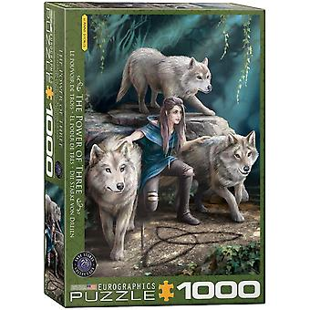 Power of three - 1000 piece jigsaw puzzle by anne stokes