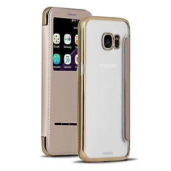 Transparent Case Microfiber For Samsung Galaxy S7 Edge Bling Leatherette Gold