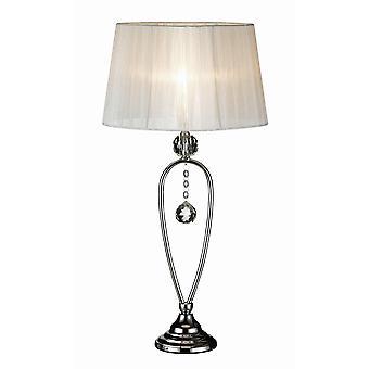 Markslojd CHRISTINEHOF - 1 vaalea kristallipöytälamppu kromi kapenevalla sävyllä, E14