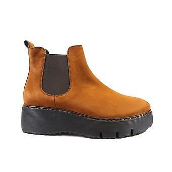 Paul Green 9821-06 Tan Nubuck Leather Womens Chelsea Boots