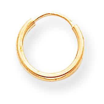 14k Yellow Gold Hollow Polished Endless Hoop Earrings - .3 Grams - Measures 10x10mm