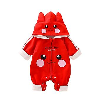 Toddler Cotton Romper Long Sleeves Zipper Snap Button Hooded Thick One Piece