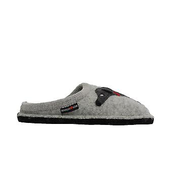 Haflinger Doggy Grey Wool With Dog Motif Womens Slip On Mule Slippers