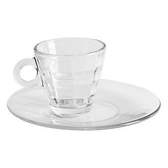 Bormioli Rocco 48 Piece Cube Glass Espresso Cups and Saucers Set - Small Tempered Coffee Mugs for Espresso Ristretto - 100ml