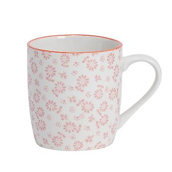 Nicola Spring Daisy Patterned Tea and Coffee Mug - Small Porcelain Cappuccino Teacup - Coral - 280ml
