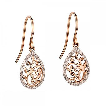 Elements Gold Rose Gold Baroque Diamond Drop Earrings GE2137
