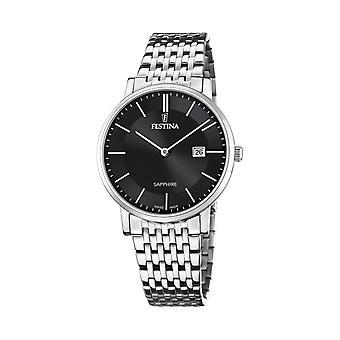 Festina Swiss F20018-3 Men's Swiss Made Black Dial Steel Bracelet Wristwatch