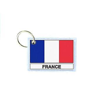 Porte cles cle clefs imprime double face drapeau F france