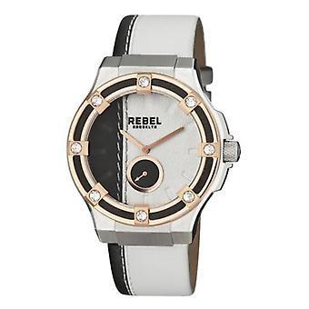 Rebel Women-apos;s RB119-5021 Flatbush Rose-Gold IP Steel White/Black Leather Watch