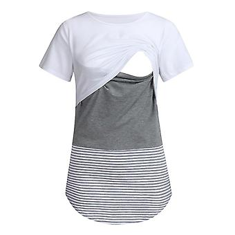 Blouses Feeding Cotton Maternity Shirt  Pregnancy Tops- Women Short Sleeve Striped Nursing