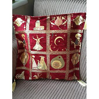 High Quality Ottoman Style Chenille Cushion Pillow Cover (red)