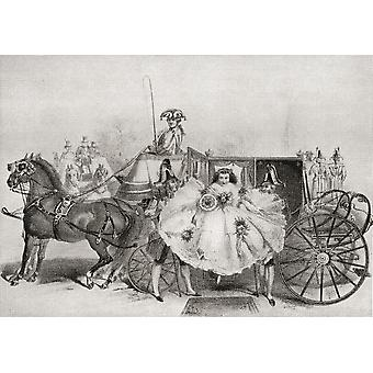 En brud som anländer på hennes publicerade bröllop i 1859 från Illustrierte Sittengeschichte vom Mittelalter bis zur Gegenwart av Eduard Fuchs 1909 PosterPrint