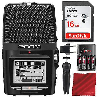 Zoom h2n handy recorder with 16gb sd card, xpix travel battery kit, and accessory bundle