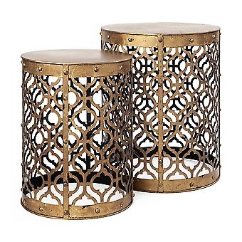 Set of 2 Cylindrical Gold Metal Accent Tables