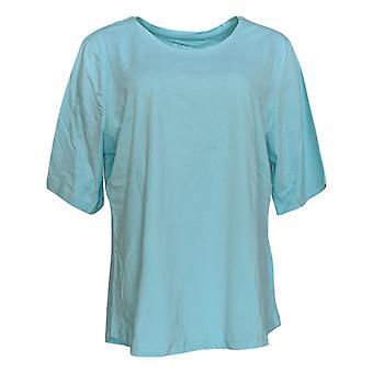 Denim & Co. Kvinder's Top Essentials Albue Sleeve Scoop Neck Blå A302899