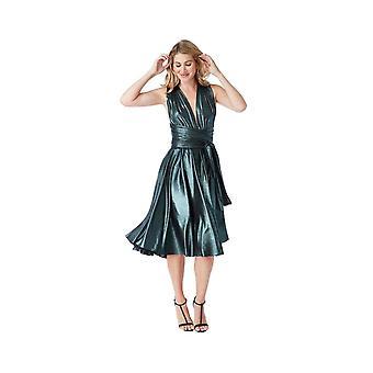 Multi tie metallic look skater midi dress