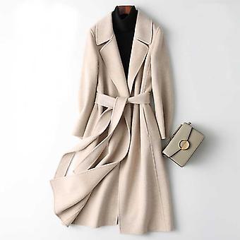Nők Kasmír hosszú elegáns turn down gallér gyapjú kabát öv öltés