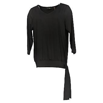 G.I.L.I. consiguió que le encanta Mujeres's Top V-Neck Knit W/ Side Tie Black A367082