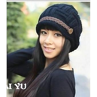 Woman Knitted Caps Earmuffs Hat, Fashion Winter Pure Manual Warm Cap