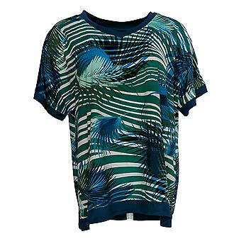 Cuddl Duds Women's Top Cool & Airy Dolman FLoral Print Green A373765