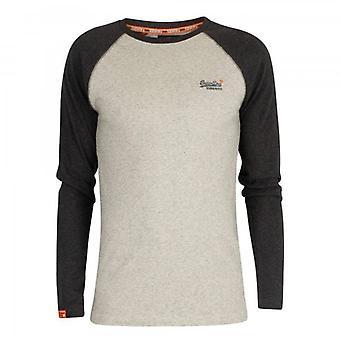 Superdry OL Textura Beisebol LS Camiseta Aveia Cinza Marl X6Q