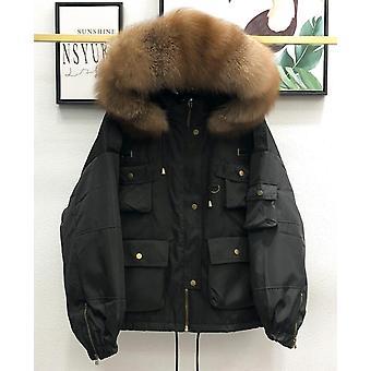 Gran natural mapache piel mujeres abrigo, invierno espeso pato Parka hembra