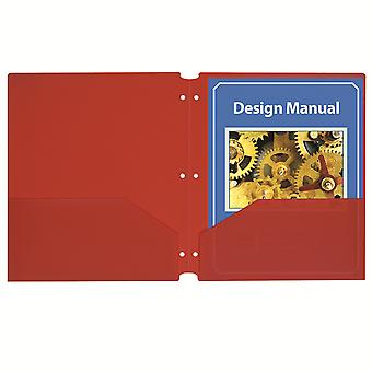 Two-Pocket Poly Portfolios With Three-Hole Punch, Red, Box Of 25