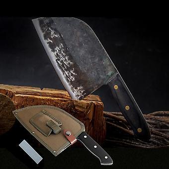 Smedet High-carbon Klædt Stål Køkken Knive Cleaver Filetering Udskæring Broad