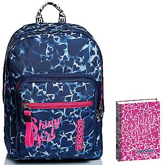 Kit escolar - EXTRA FIT Seven BACKPACK + DIARY - Corazones teñidos